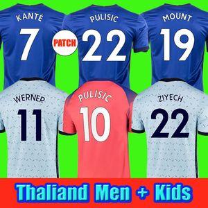CFC Pulisic Ziyech Havertz Kante Werner Abraham Chilwell Mount Jorginho Soccer Jersey 2020 2021 Футбольная футболка Giroud 20 21 Мужчин + Детский комплект