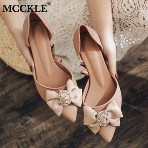MCCKLE Summer Pumps Elegant Bowtie Women's Ladies Women Pointed Toe Woman Thick Heels Female 2020 Fashion Crystal Jelly Shoes