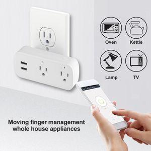 Wifi Akıllı Güç Şerit Dalgalanma Koruyucu 2 ABD Plug Çıkışları Elektrik Soketi USB Bağlantı Noktası Ile App Ses Uzaktan Kumanda Alexa Googlehome IFTTT