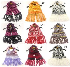 Bébé hiver chauds tassels écharpes enfants christmas de noël flocon imprimé écharpes enfants jacquard weave foulard