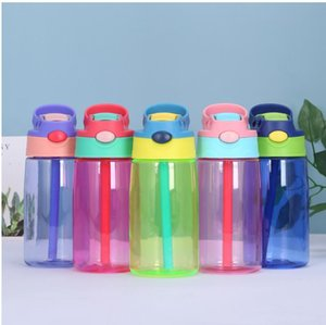 Botella de agua 17 oz niños lindos de los niños taza de Sippy de la botella de plástico Los niños pequeños Bebé del agua para niñas y niños taza de viaje con tapas