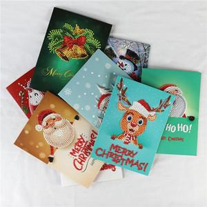 Punte di diamante Pittura Biglietti d'auguri speciale di Natale del fumetto di compleanno Cartoline 5D fai da te Kids Festival ricamo Greet Gift Cards AHD2542
