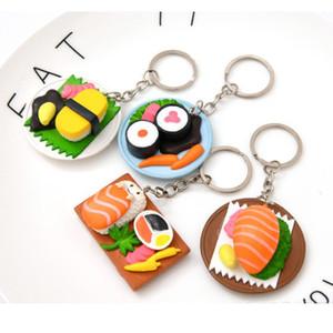 20pcs lot Mini Hood Keychain Sushi Key Chain Simulation Nigiri Keyring Japanese Cuisine Key Ring Pendant Birthday Party Gifts