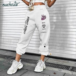 SUCHCUTE femme Pantalons taille élastique épais Sarouel Pantalon Gothicfemme Punk Femme Hoodies Pantalons Harajuku Pantalones Mujer