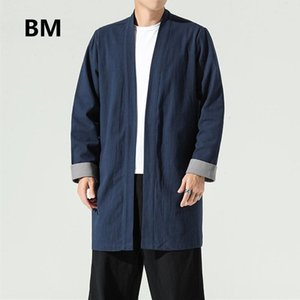 Chinese Style Cotton Linen Cloak National Style Robe Long Gown Plus Size Autumn Trench Coat Long Cardigan Clothes Men Clothing