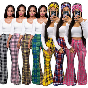 Clásico de la tela escocesa de las mujeres ropa de moda de impresión Palazzo llamarada pantalones casuales pantalones mujer pantalones acampanados de verano apretado El nuevo listado