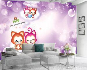 Photo Wallpaper 3d Flower 3d Mural Wallpaper Purple Dream Balloon Cute Rabbit Living Room Bedroom Wallcovering HD 3d Wallpaper