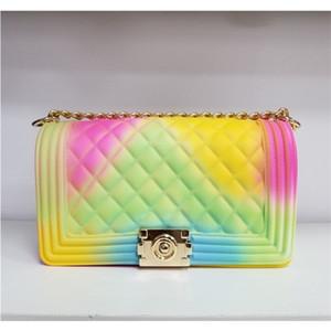Gelee Geldbörsen und Handtaschen für Frauen Rainbow Gradient Candy Damen Handtaschen PVC Kette Crossbody Bag 2020 C1011
