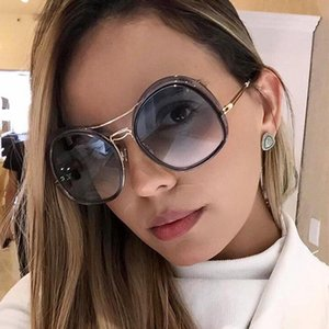 oval women metal sunglasses Fashion Vintage Big Shade Female Sunglasses Oversized Gradient Eyeglasses Feminino