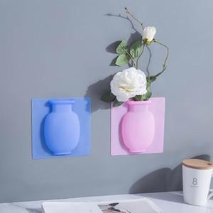 Poner jarrón adhesivo de silicona Easy Muralla extraíble y nevera Flor Magic Flor Flor Vases DIY Decoración del hogar Accesorios