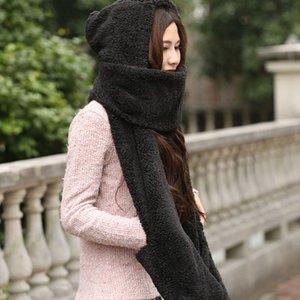 Guanti con il poeta Fluffy Hood Sciarpa Earflap cappello di inverno Autunno caldo a lungo delle donne Sciarpe di alta qualità scialle femminile di vendita calda