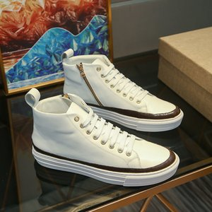 2020 Marque Mode Chaussures de luxe Chaussures Sneakers Casual Chaussures Hommes Femmes High Pieds Hommes Blanc Cuir