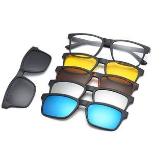 HjyFino 5 Lenes Mıknatıs Aynalı Güneş Gözlüğü Gözlük Erkekler Polarize Klip Özel Reçete Miyopi