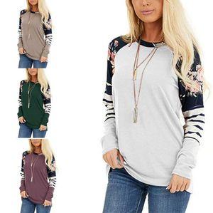 Women Jumper Printed Stripe Print Casual Loose Shirt Blouse Cotton Outerwear Lady Long Sleeve T-shirt Sweatshirts Pullover Apparel KKF1857