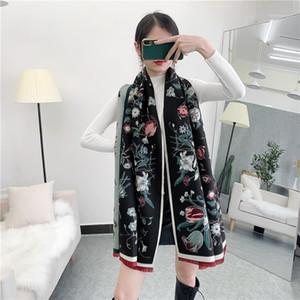 Bufanda térmica Mujeres Invierno Imitación Cashmere Floral Shawal Scarf1