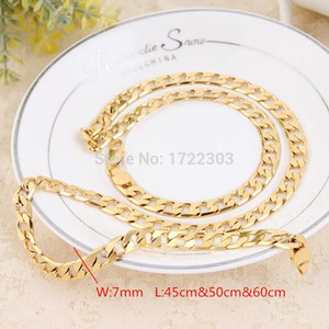 HipHop Cuban Gold filled Link Chain Men Jewelry Wholesale Long Chokers Big Chunky hin Gold Necklace women bracelet couple gift