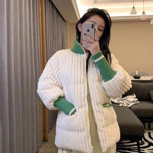 Corduroy Winter Coat Women Padded Parka 2021 Green Patchwork White Puffer Jacket Korean Style Bubble Jacket Fashion Loose Coat