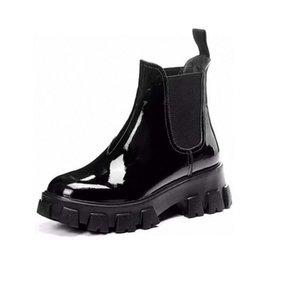 New Women Black Genuine Leather Matte Patent Platform Latest Boots Top Casual Shoes Pulse Triple Martin boots Size 35-40