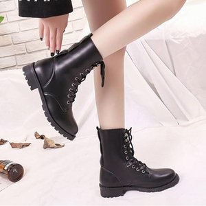 2020 Autumn Women Motorcyle Boots Lace up Riding Equestrian Booties Cross-tied Casual Shoes Black Botas mujer Plu Size 42 8669C