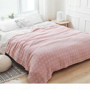 Хлопок Крупногабаритные Муслин Throw Одеяло Покрывало для детей взрослых Soft Cozy дышащий Идеально подходит для любой кровати Расслоение