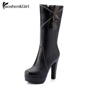 HaoshenGirl hiver femmes mi-mollet Bottes Super High Talon 12cm ZIP Bow-noeud Noir Rouge Blanc Mesdames Plate-forme Chaussures plus Size34-43
