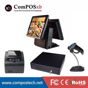 Cash registers dual 15inch touch screen all in one terminal black for supermarket1