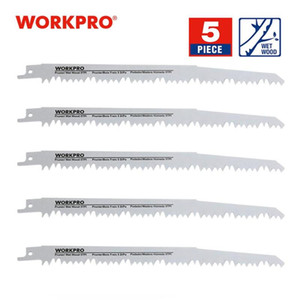 WORKPRO 230mm Saw Blades Wood Pruning Reciprocating Saw Blades Clean For Wood Fast Cutting (5 TPI) - 5 Pack 9 inchx1.3x5T