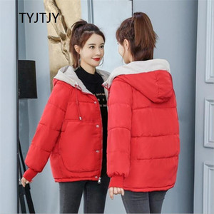 TYJTJY пальто зимы женщины 2020 Мода Зимней куртка Женщина Хлопок проложенного Parka Outwear с капюшоном 7 цветов Твердый Женский жакет