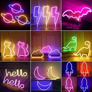 DHL Consegna veloce Led Neon Light Hello Hello Art Sign Decorazione Della Camera Da Letto Decorazione Arcobaleno Hanging Night Lamp Home Party Holiday Decor Decor Xmas Regalo di Natale