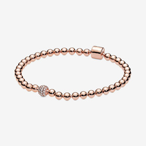 New Arrival 925 Sterling Silver Rose Gold Beads & Pave Bracelet Fashion DIY Jewelry Accessories For Women Gift Free Shipping