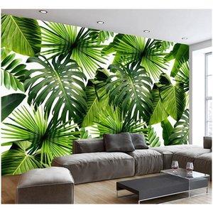 Custom 3d Mural Wallpaper Southeast Asia Tropical Rainforest Banana Leaf Photo Background Wall Murals Non-woven jllpGz sinabag