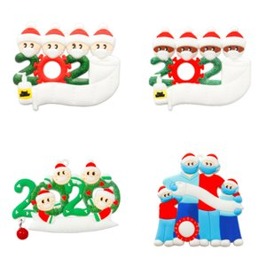 2020 Christmas Quarantine Ornaments Customized Gift Survivor Family of 2-7 Hang Decoration Snowman Pendant With Face Mask Hand Sanitizer