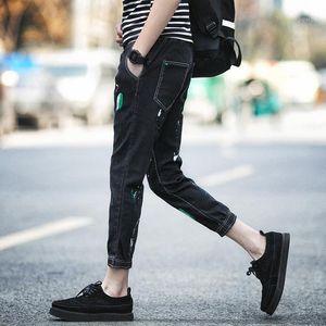Мужские джинсы высочайшего качества 2021 мода ковбойские ноги GD досуг брюки струнные ручной росписью хип-хоп джинсовые карандаш брюки Длина лодыжки MEN1