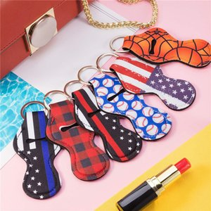 Designs New Neoprene Keychain Sports Printed Chapstick Leopard Keychian Wrap Lipstick Holder Lip Cover Party Gift DHD230