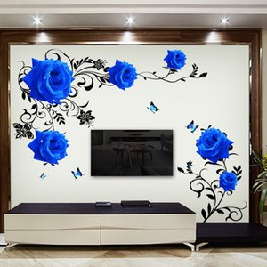Large blue rose flowers Sofa TV Background Wall Sticker Home Decoration DIY bedroom Living room Mural art Decals poster stickers 1007