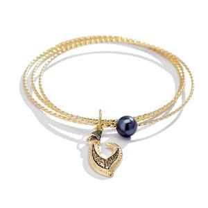 Cring Coco Hawaiian Gold Palted Bangles Bracelet Fashion Polynesian Charm Black Pearl Bracelets Pearl Jewelry for Women Wedding