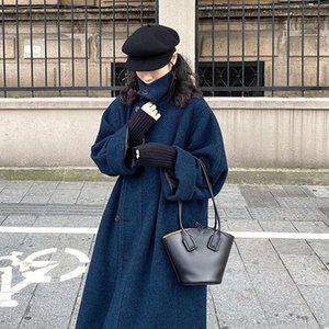 Herbst 2020 Neue Herbst Winter Solide Langmantel Frauen Elegante koreanische Wollmäntel und Jacken Womens Cashmere-Vollmatze P21
