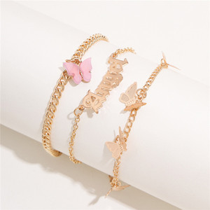 3pcs set Butterfly Women Chain Anklet Bracelet Sexy Barefoot Sandal Beach Foot Chains Bracelet for Lady Party Jewelry
