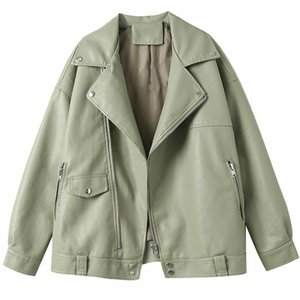 Top Quality Female New Design Spring Autumn PU Leather Jacket Women Faux Soft Leather Coat Loose Rivet Zipper Motorcycle Jackets