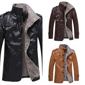 Männer Winter lang Plüschfell ein Körper schlank Leder Warm Portemonnaie Windjacke Brieftasche Jacke Revers Pu warme Windjacke Mantel 3SmN3