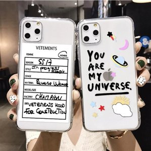 100pc letter transparent soft shell For iPhone 11 mobile phone case suitable for Samsung protective cover wholesale For iphone 12 phone case