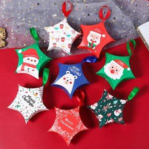 Cajas de regalo de Navidad Papá Noel Cajas de papel Caja de estiba Forma de caramelo Caja de embalaje Caja Colgante Cuerda Llevar Bolsos Creativa Decoración de Navidad LSK1845