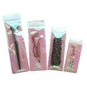Long Shape Rainbow Pink Self seal Bag Iridescent Clear Lipgloss Packaging Bags Cosmetic Plastic Laser Zipper bag LX3258