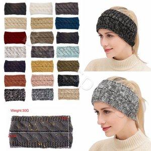 21 Cores Ear Sports malha Crochet Headband Mulheres Winter Hairband Turban cabeça banda Warmer Beanie Cap Headbands CYZ2864 50pcs