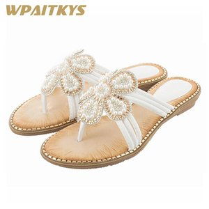 2020 New Black White Pink Blue Seven Colors Sandals Woman Fashion Rhinestone Pearl Casual Women's Sandals Birthday Present