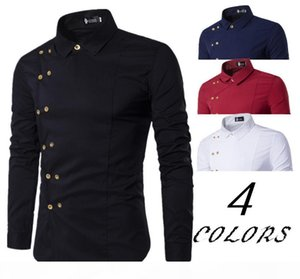 Golden Button Shirt Inclined Double Breasted Men Male Turn Down Collar Solid Color Business Shirts Casual Slim Fit Man Dress Shirt Free Ship
