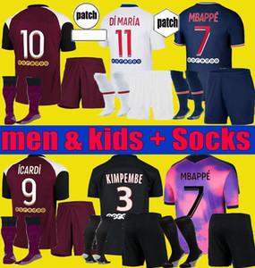 Enfants Icardi 20 21 Marquinhos Mbappe Four Soccer Jersey 2020 2021 Verratti 4th Men Kids Set Kean Mailleots de Football Commet Home