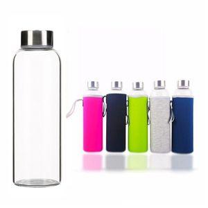 280ml 360ml 420ml 550 ml Cam Su Şişeleri BPA Ücretsiz Yüksek Sıcaklığa Dayanıklı Cam Spor Su Şişeleri Protable Su Şişesi