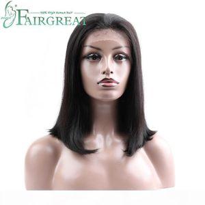 Fairgreat Brazilian Hair Lace Front Human Hair Short Bob Wigs For Women Black 2# 4# Color Brazilian Remy Human Hair 130% Density Wigs