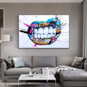 Canvas Painting Wall Posters and Prints Graffiti color mouth Wall Art Pictures For Living Room Decoration Dining Restaurant Hotel Home Decor